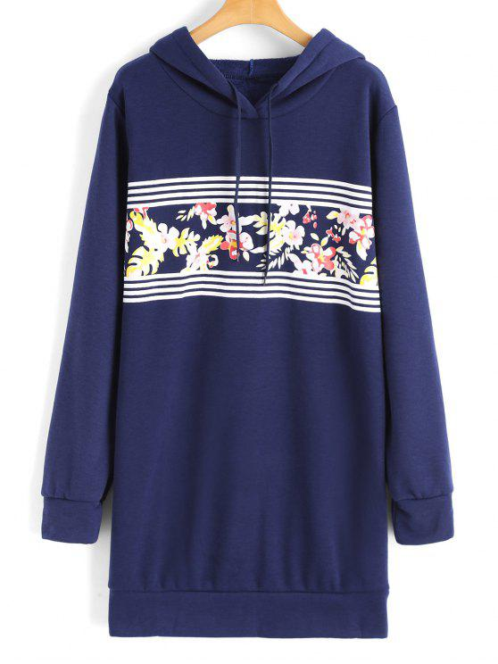 hot Longline Floral Stripes Panel Hoodie - BLUE S