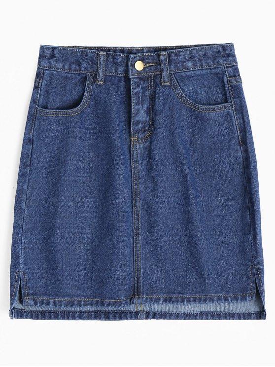 Saia de lã com fecho lateral - Jeans Azul L