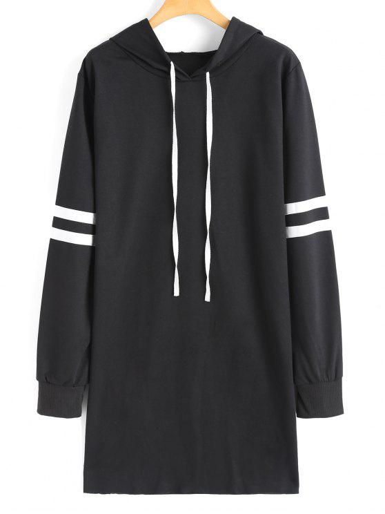shop Drawstring Longline Ribbons Trim Hoodie - BLACK S