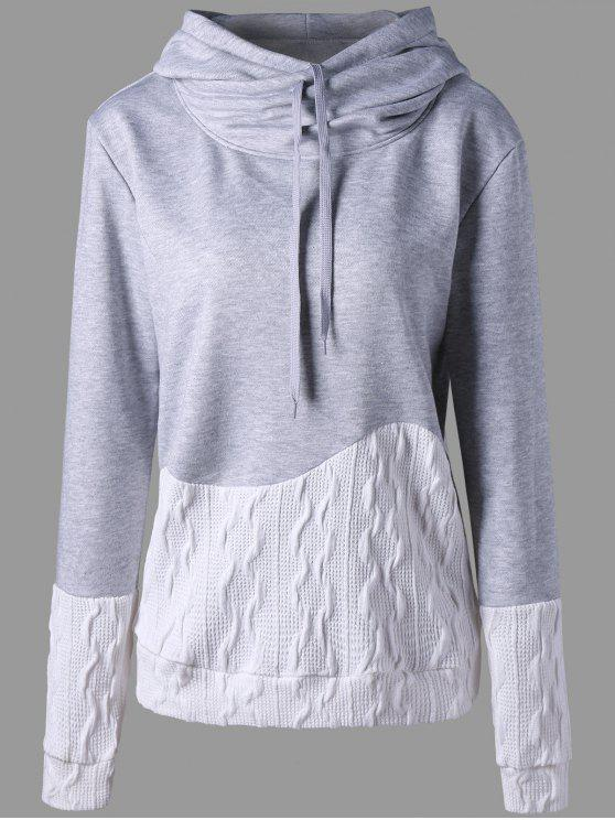 fashion Patchwork Drawstring Pullover Hoodie - GRAY L