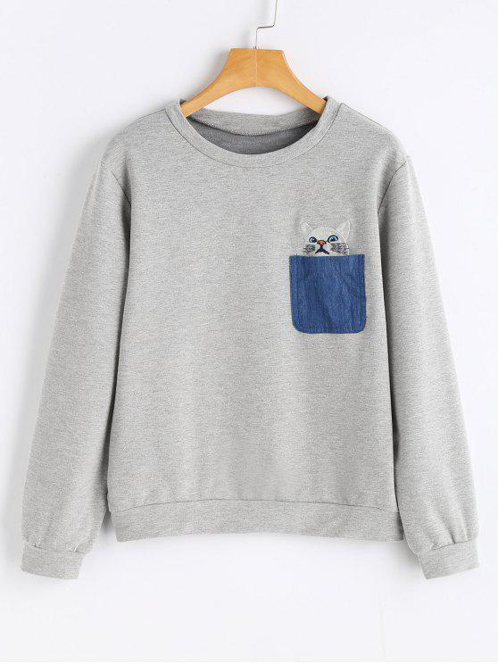 Camisola bordada do gato do bolso - Cinza Claro S