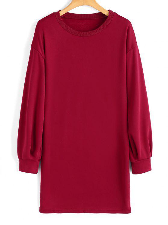 Camisola casual de palangre de manga comprida - Vermelho L