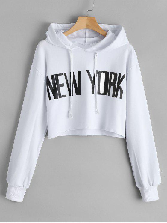 lady Cropped New York Tunic Hoodie - WHITE S