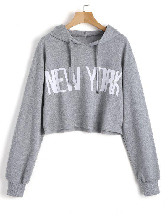latest Cropped New York Tunic Hoodie - GRAY S