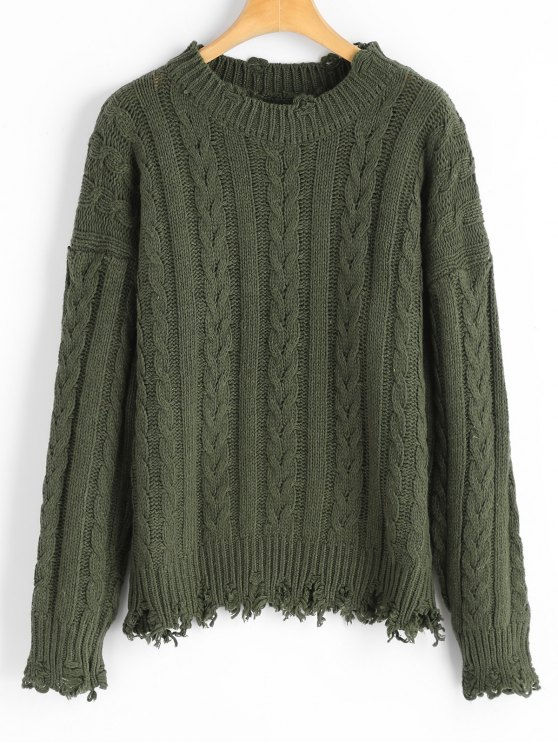 2018 Distressed Cable Knit Sweater In Army Green One Size Zaful