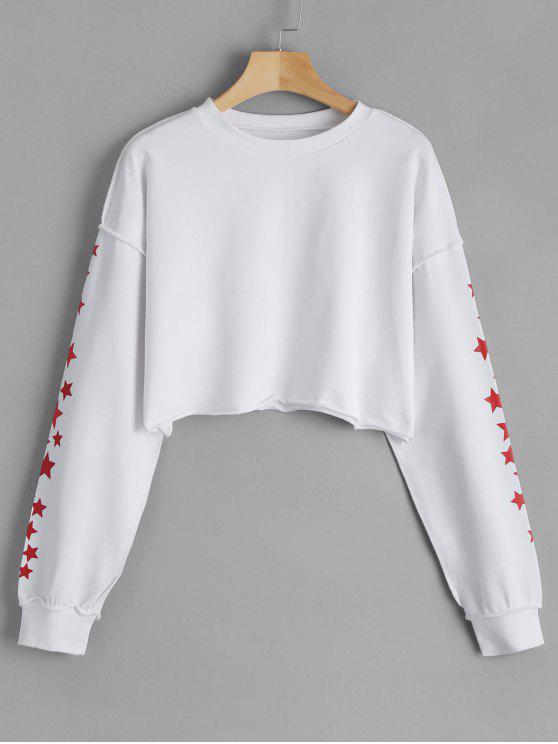 unique Cropped Pentagram Print Sweatshirt - WHITE ONE SIZE