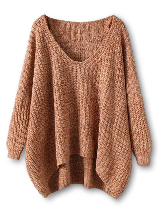 buy Chunky V Neck Oversized Sweater , COFFEE ONE SIZE