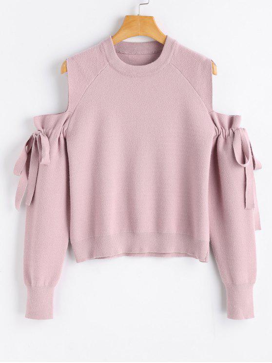 Suéter com Nó em Laço com Ombro Caído - Rosa Um Tamanho
