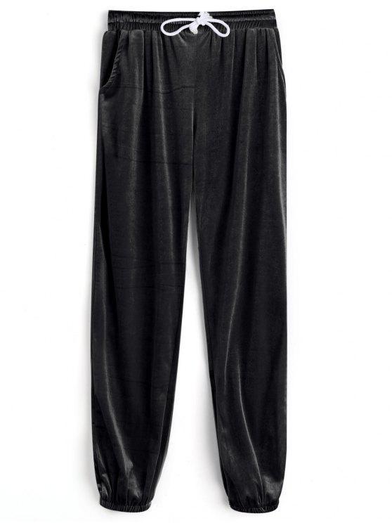 Pantalons en Velours avec Cordon de Serrage - Noir S