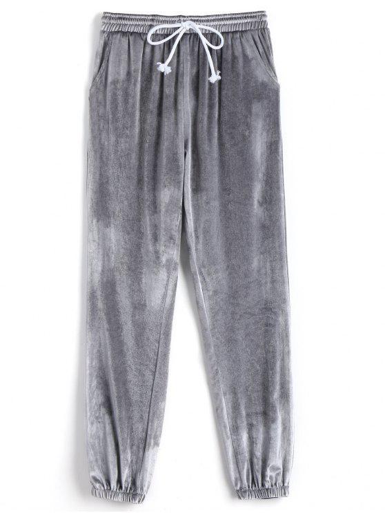 trendy Velvet Drawstring Pants - LIGHT GRAY S