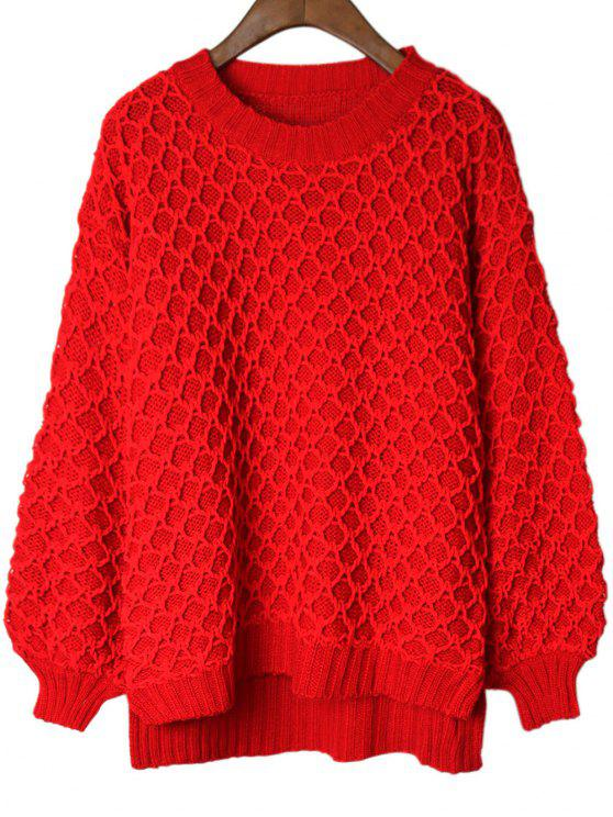 latest Lantern Sleeve Slit High Low Sweater - RED ONE SIZE