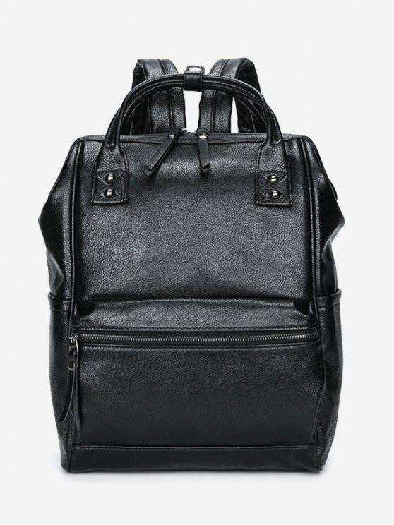 Top Handle Pebbled Faux Leather Mochila - Negro