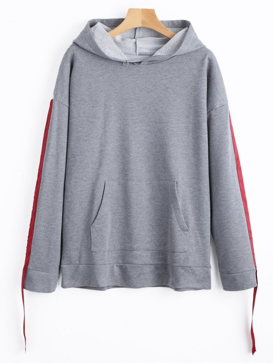 outfit Side Ribbon Oversized Hoodie - GRAY S
