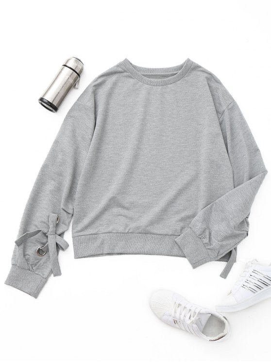 shops Tied Oversized Sweatshirt - GRAY S