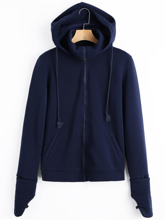 chic Fleece Zip Up Hoodie - PURPLISH BLUE S