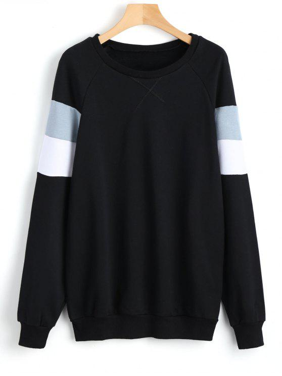 Color Block Raglan Sleeve Sweatshirt - Schwarz S