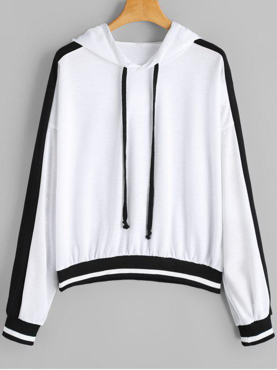 Drawstring Oversized Two Tone Hoodie - Branco M