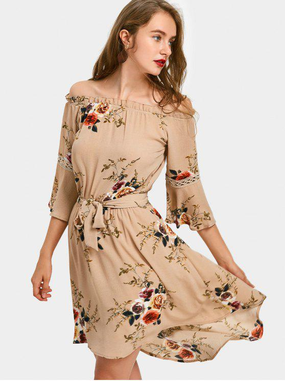 06a05157a055 2019 High Low Floral Off Shoulder A Line Dress In KHAKI L