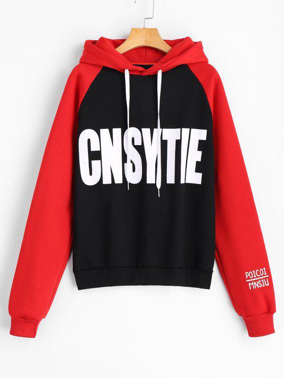 Hoodie de Cnsytie da letra de dois tons - Preto e Vermelho XL