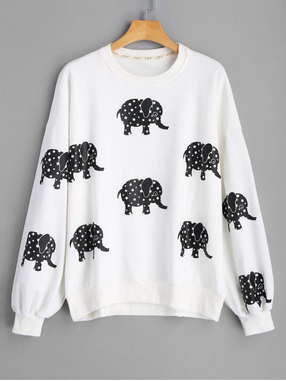 Camisola da cópia do elefante do ombro da gota - Branco Tamanho único