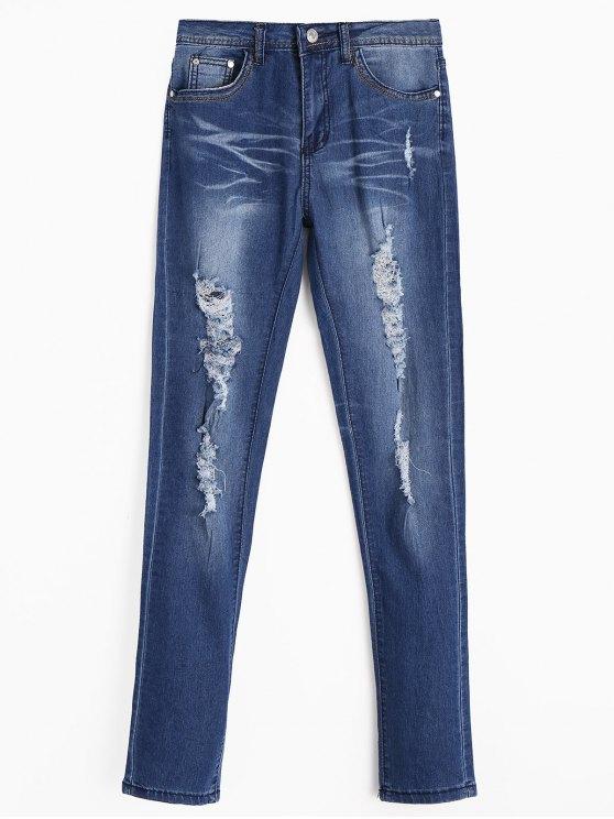 Jeans Usé Zippé avec Poches - Bleu Foncé S