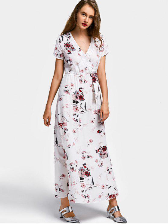 Robe Longue Cache-Coeur Florale à Manches Courtes - Blanc S