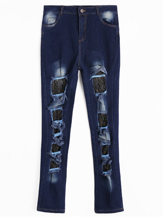 Lace Panel Cut Out Jeans - Azul Escuro S