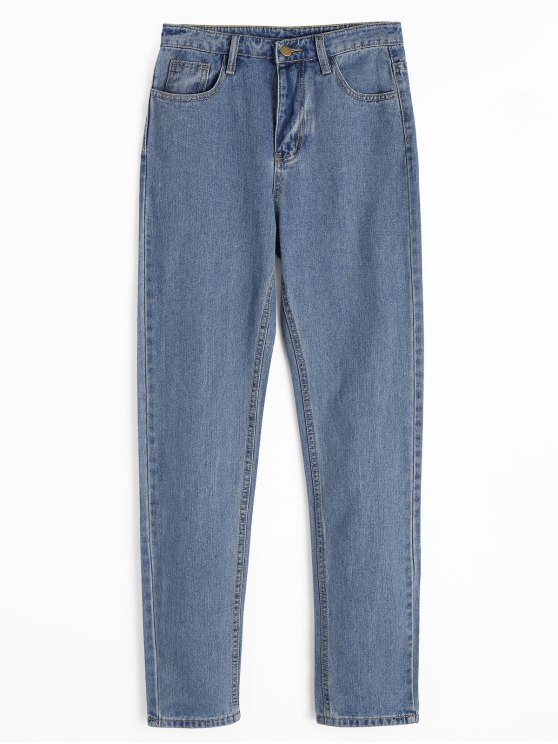 online Zipper Fly Straight Jeans with Pockets - DENIM BLUE M
