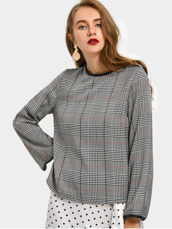 fancy Houndstooth Faux Leather Panel Blouse - CHECKED S