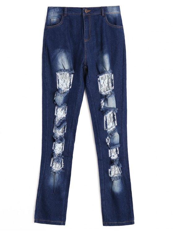 Pantalon découpé en dentelle - Bleu Foncé S