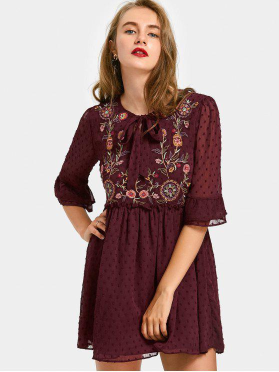 ladies Bow Tied Applique Floral Embroidered Mini Dress - WINE RED M