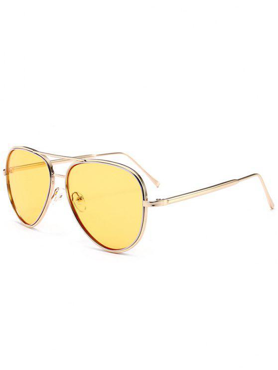 trendy Anti UV Metal Full Frame Crossbar Sunglasses - LIGHT YELLOW
