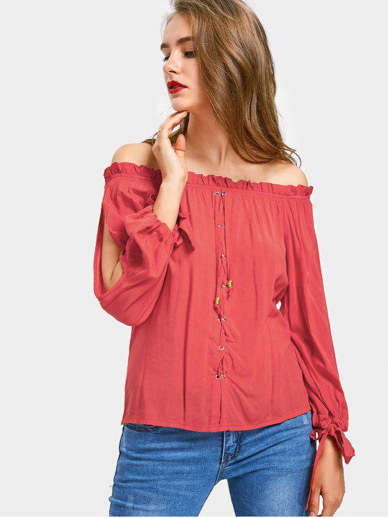 womens Split Sleeve Lace-up Off The Shoulder Top - RED S