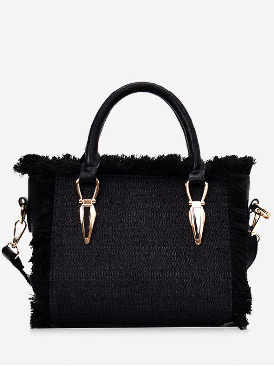 lady Frayed Edge Denim Tote B - BLACK