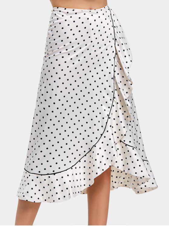 outfit Ruffles Polka Dot Asymmetrical Maxi Skirt - WHITE AND BLACK L