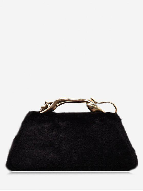 outfits Faux Fur Metal Handle Handbag - BLACK