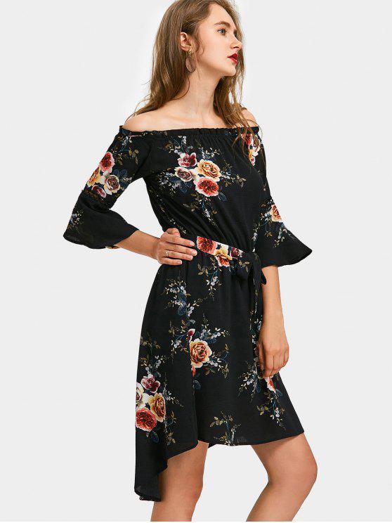 Robe Trapèze Haute-Bas Florale à épaules Dénudées - Noir S