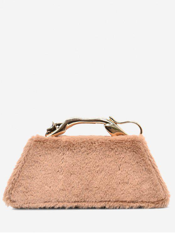 women Faux Fur Metal Handle Handbag - KHAKI