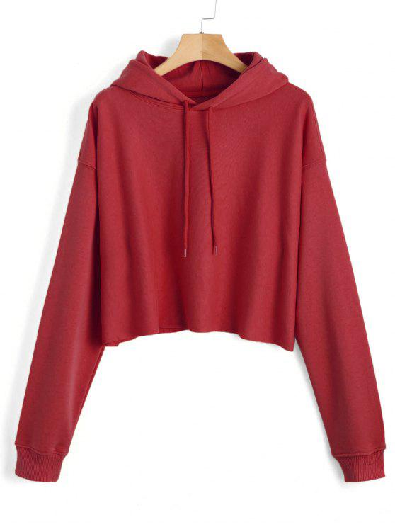 womens Pullover Plain Tunic Hoodie - RED ONE SIZE