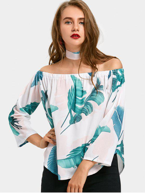 ladies Palm Leaf Off The Shoulder Top - WHITE XL