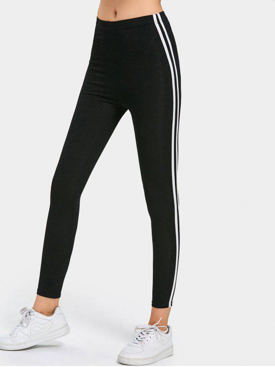 women Side Stripe Skinny Pants - BLACK XL