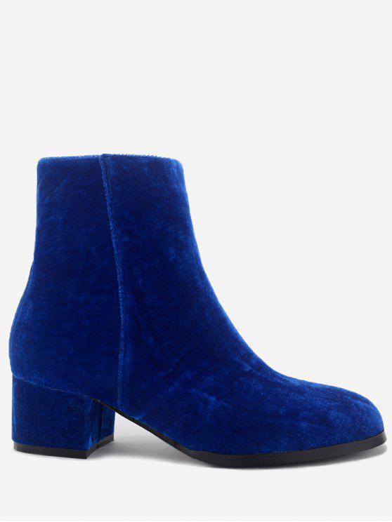 Gestapelte Ferse Mandel Zehen Velours Stiefeletten - Blau 40