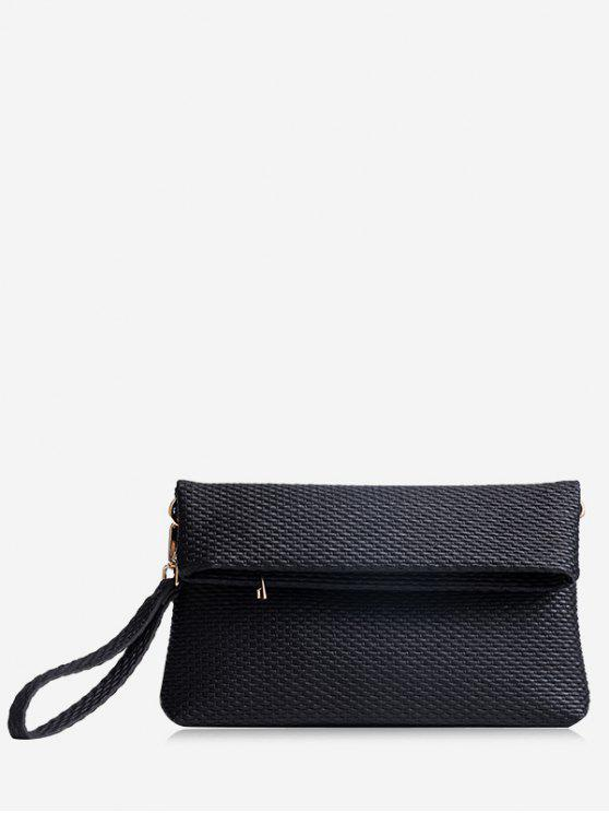 affordable Fold Over Multi Function Clutch Bag - BLACK