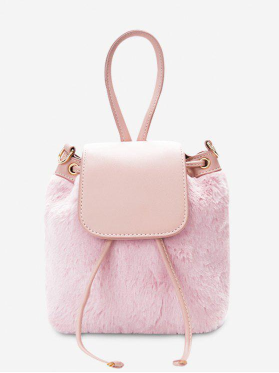 online Fluffy Drawstring Cross Body Bag - PINK