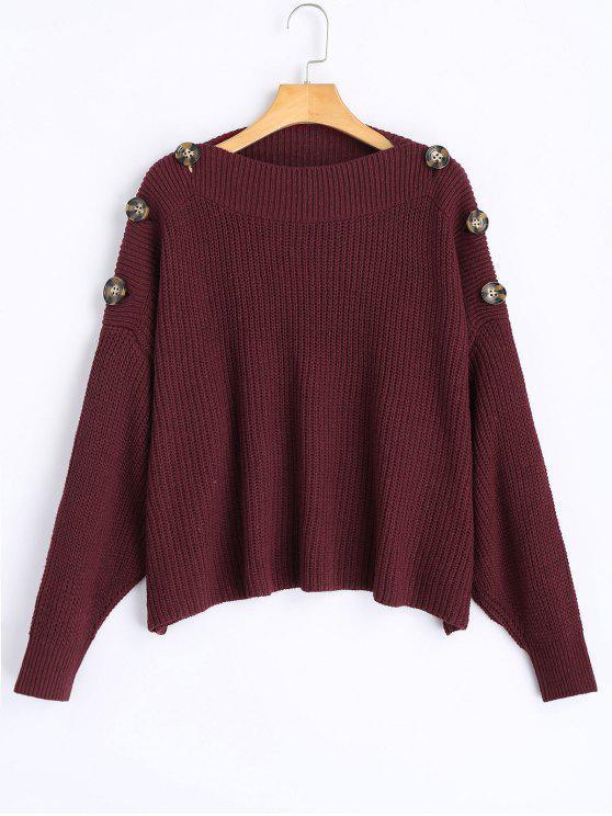 hot Slash Neck Button Embellished Sweater - DARK RED ONE SIZE