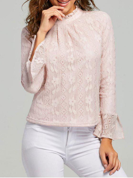 b1c83c064c4b7 23% OFF  2019 Lace Ruffle Neck Blouse In PINK