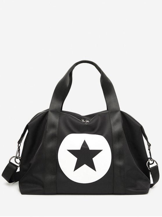 online Star Color Block Gym Bag - BLACK