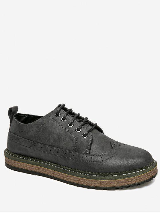 PU Leather Wingtip Casual Shoes - Gris Foncé 42