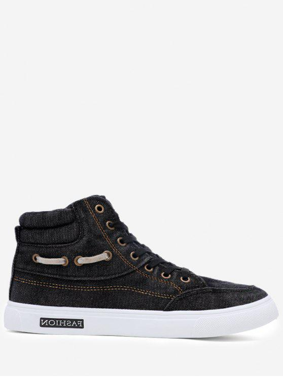 Stitching Denim Letter Skate Shoes - Preto 44