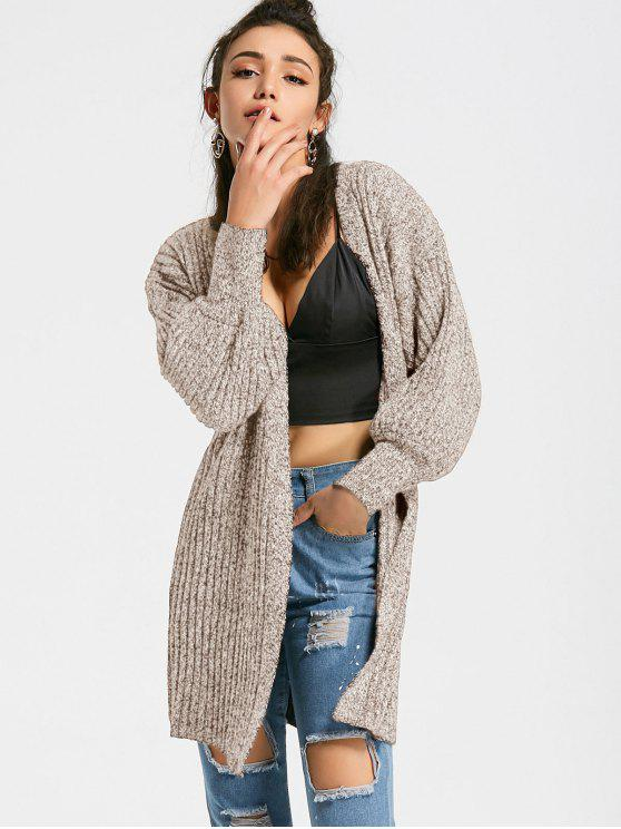 hot Heathered Lantern Sleeve Open Front Cardigan - APRICOT ONE SIZE